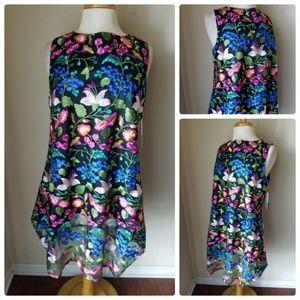 NWT Tahari Black Floral Embroidered Shift Dress
